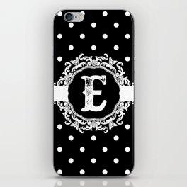 Black Monogram: Letter E iPhone Skin