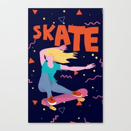 Girl with golden hair on pink skateboard. Canvas Print