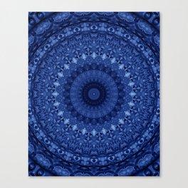 Mandala in deep blue tones Canvas Print