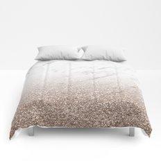 Glitter ombre - white marble & rose gold glitter Comforters