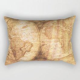 Antique World Map on Wood Rectangular Pillow