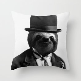 Sloth with Bowl Hat Throw Pillow
