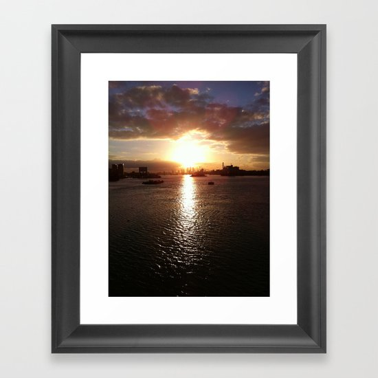 Canary Wharf at Low Sunset Framed Art Print