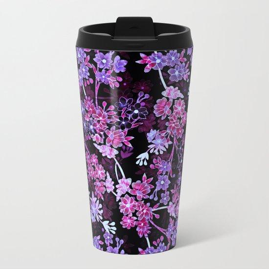 Pink & Purple Floral Pattern Metal Travel Mug