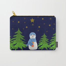 Sparkly gold stars, snowman and green tree Carry-All Pouch