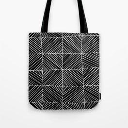 Black Diagonals Pattern Tote Bag
