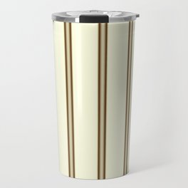 Cream and Brown Stripes Travel Mug