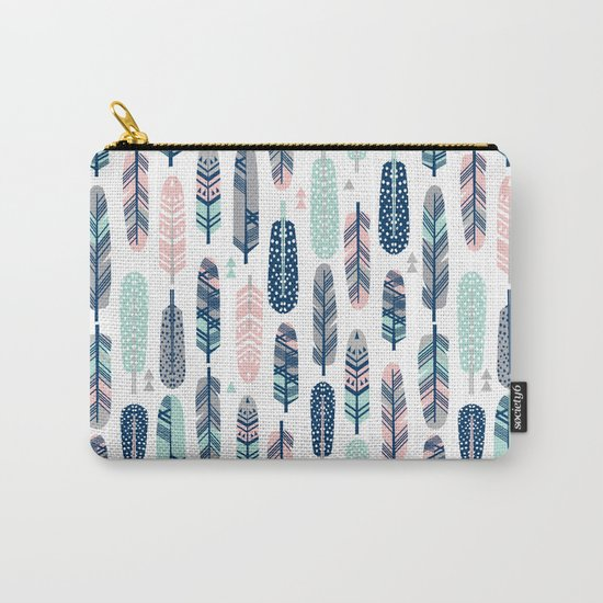 Feathers geometric trendy gender neutral colors modern feather and arrows pattern print dorm college Carry-All Pouch