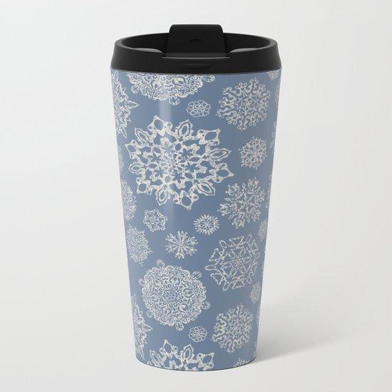Merry Christmas- Abstract christmas snow star pattern on fresh grey I Metal Travel Mug