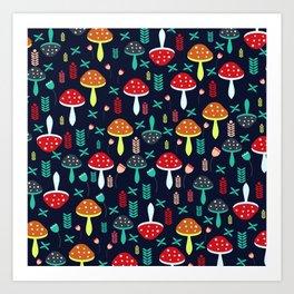 Multicolored mushrooms Art Print