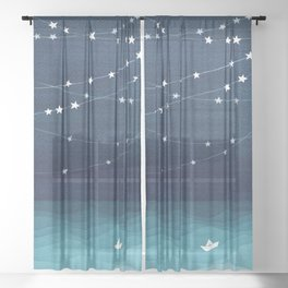 Garlands of stars, watercolor teal ocean Sheer Curtain