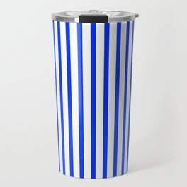 Blue & White Vertical Stripes Travel Mug