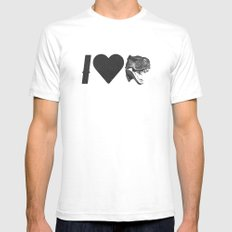 I Love Dinosaurs SMALL Mens Fitted Tee White