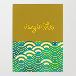 Seigaiha or seigainami literally means wave of the sea. Merry Christmas card Poster