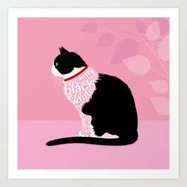 Typographic black and white lazy kitty cat on pink  #typography #catlover Art Print