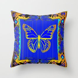 Lapis Blue & Gold Monarch Western Art design Throw Pillow