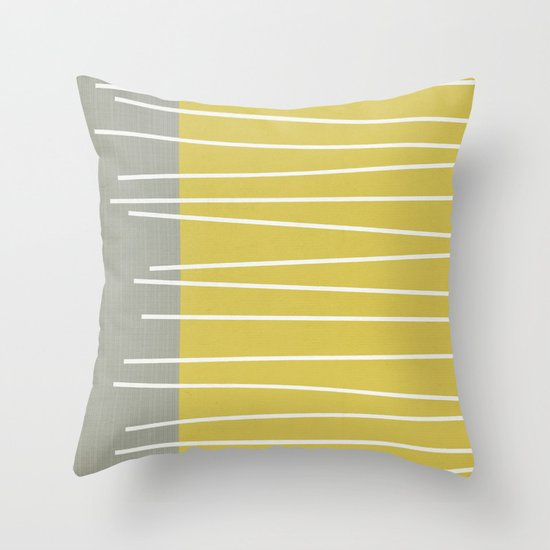 MId century modern textured stripes Throw Pillow by Michelle Drew Society6