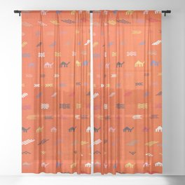 Traditional Oriental Camels Moroccan Style Design Sheer Curtain