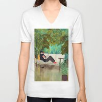 jungle V-neck T-shirts featuring jungle by Lara Paulussen