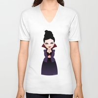 regina mills V-neck T-shirts featuring Kokeshi Regina by Pendientera