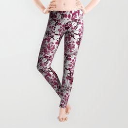 Laced crimson flowers on a white background. Leggings