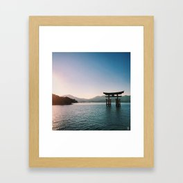 Sunset over Floating Torii Gate in Miyajima (Japan) Framed Art Print
