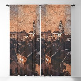 Cesky Krumlov sunset painting- Czech Republic Blackout Curtain