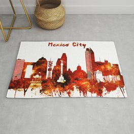 Mexico City Red Yellow Skyline Rug