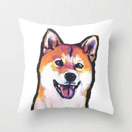Shiba Inu Fun Dog Portrait bright colorful Pop Art Paintng by LEA Throw Pillow