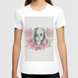 girl and flowers color T-shirt