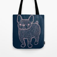 french bulldog Tote Bags featuring French Bulldog by Syrupea