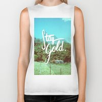 stay gold Biker Tanks featuring Stay Gold by Don Pekin