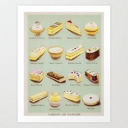 From the Book of Cakes, Variety of Fancies, Cakes, and Delicious Deserts  Art Print