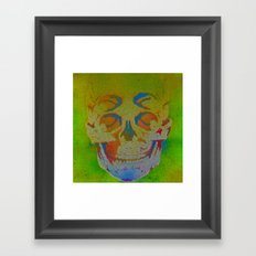 4i skull stencil art - white Framed Art Print