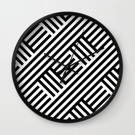 Geometric Stripes Crossed Black and White Modern Abstract Wall Clock