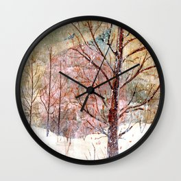 Blood Moon Rising over Snowy Dewdrop Holler Wall Clock