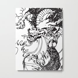 Oriental Dragon Line Art Metal Print