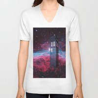 dr who V-neck T-shirts featuring Dr Who police box  by store2u