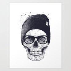 Grey Skull in a hat Art Print