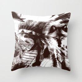 native wolf  Throw Pillow