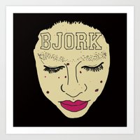 bjork Art Prints featuring BJORK by Casey Sullivan