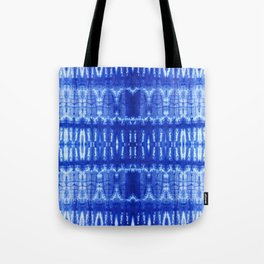 tie dye ancient resist-dyeing techniques Indigo blue textile abstract pattern Tote Bag