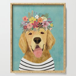 Golden Retriever Dog with Floral Crown Art Print – Funny Decoration Gift – Cute Room Decor – Poster Serving Tray