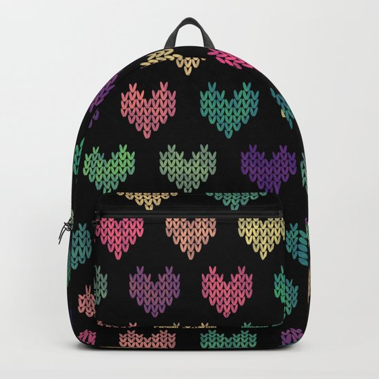 Colorful Knitted Hearts VI Backpack