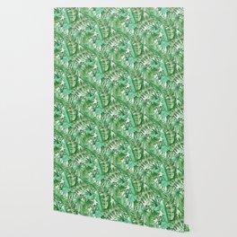 Green tropical leaves III Wallpaper