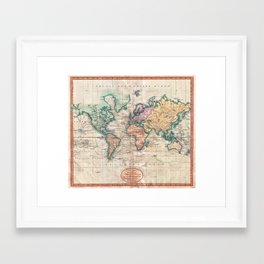Vintage World Map 1801 Framed Art Print