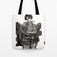 levi Tote Bags featuring Levi Ackerman by OtakuRuki