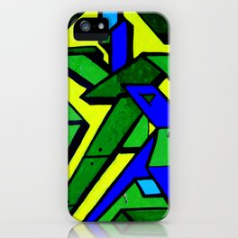 Green and blue graffiti - street art iPhone Case