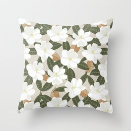 magnolia flowers - southern floral - beige Throw Pillow