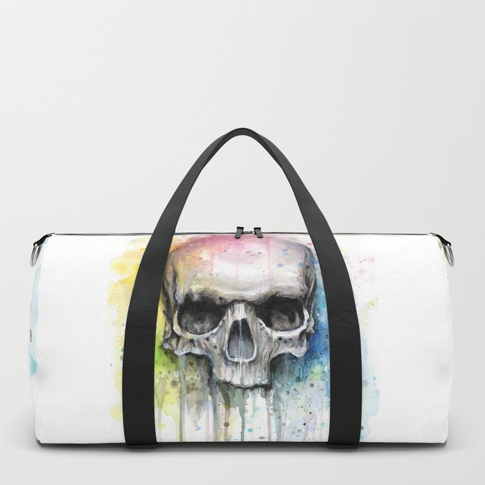 Skull Rainbow Watercolor Duffle Bag